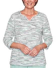 Petite Lake Geneva Textured Space-Dyed Knit Top
