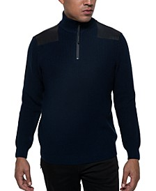 Men's Quarter-Zip Ribbed Knit Sweater