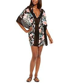 Juniors' Lush Butterfly Tropic Printed Tie Back Crochet Caftan Cover-Up, Created for Macy's