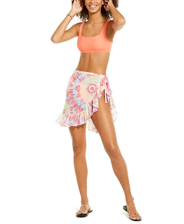 Miken Juniors' Tie-Dyed Chiffon Tie-Waist Sarong Cover-Up, Created for Macy's