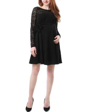 Kimi + Kai Elle Maternity Lace Trim Dress