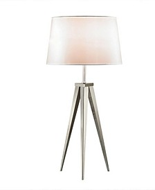 "Hollywood 30"" Brushed Steel Tripod Table Lamp"