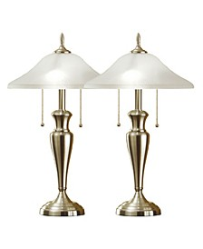 "2-Piece Classic Cordinates 24"" Lamps with High Quality Hammered Glass Shades"