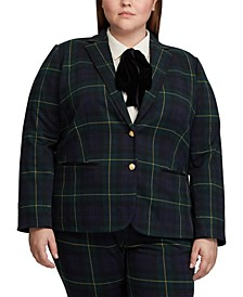 Plus Size Plaid Jacquard Blazer