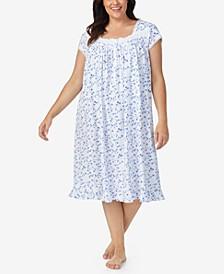 Plus Size Cotton Floral-Print Lace-Trim Waltz Nightgown
