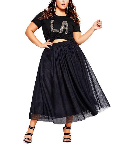 City Chic Trendy Plus Size Tulle Midi Skirt