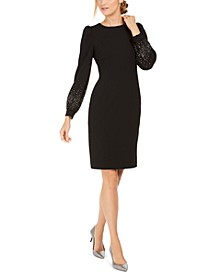 Bling Puff-Sleeve Sheath Dress
