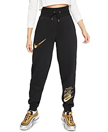 Women's Sportswear Shine Metallic Logo Sweatpants
