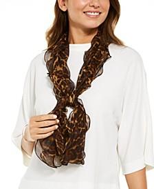 Leopard Double Ruffle Silk Scarf