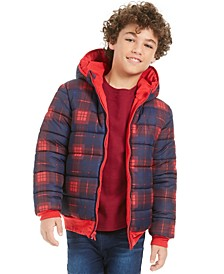 Big Boys Plaid Reversible Water-Resistant Hooded Puffer Jacket, Created For Macy's