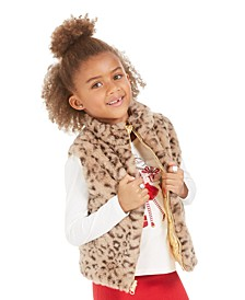 Little Girls Reversible Metallic & Faux-Fur Puffer Vest, Created For Macy's