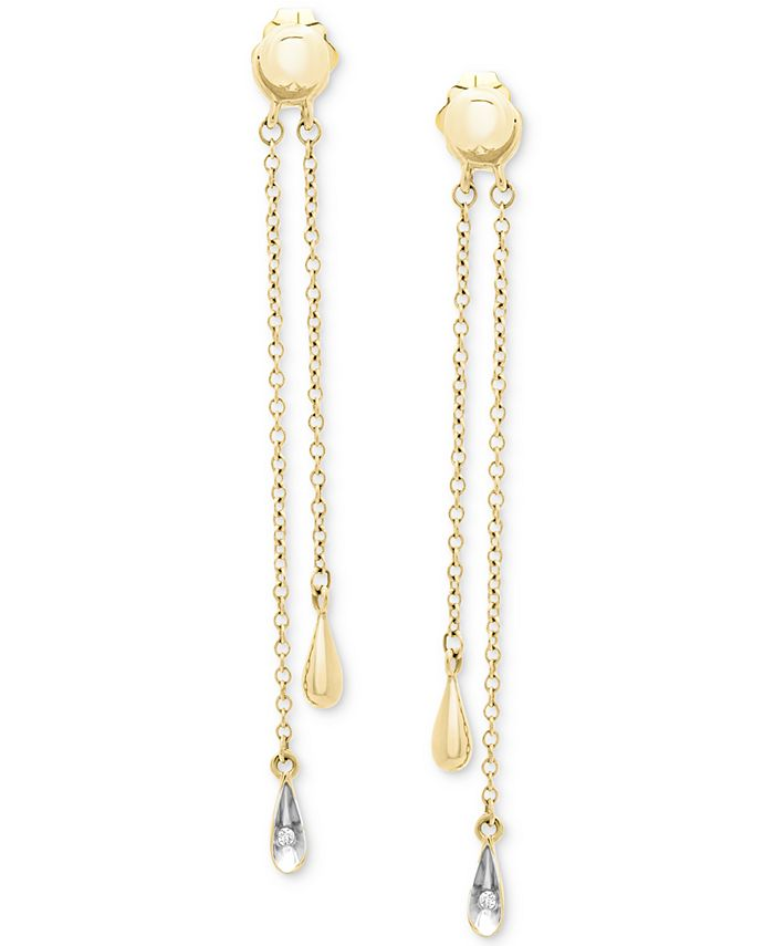 Wrapped - Diamond Accent Drop Earrings in 14k White Gold