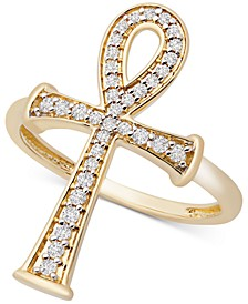 Diamond Ankh Ring (1/4 ct. t.w.) in 14k Gold, Created for Macy's
