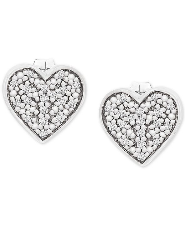 Wrapped Diamond Heart Stud Earrings (1/10 ct. t.w.) in 14k White Gold, Created for Macy's