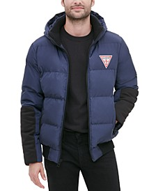 Men's Large Logo Hooded Puffer Jacket