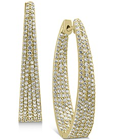 EFFY® Diamond Pavé Medium Hoop Earrings (2-3/8 ct. t.w.) in 14k Gold, 1.3""