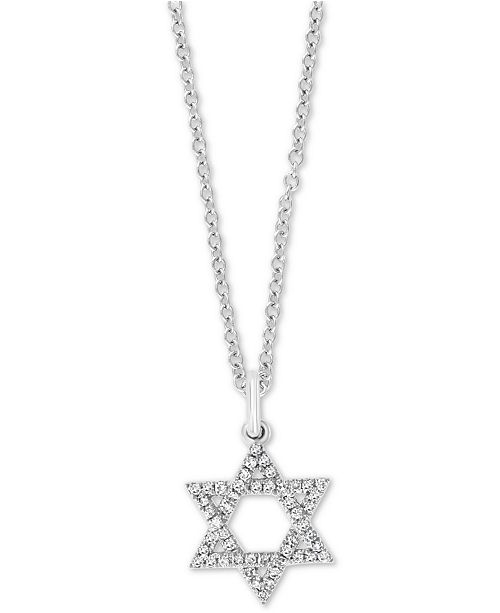 """EFFY Collection EFFY® Diamond Star of David 18"""" Pendant Necklace (1/6 ct. t.w.) in 14k White Gold"""