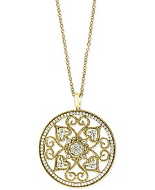 "EFFY® Diamond Vintage Swirl 18"" Pendant Necklace (1-1/6 ct. t.w.) in 14k Gold"
