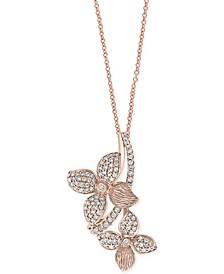 "EFFY® Diamond Flower 18"" Pendant Necklace (3/4 ct. t.w.) in 14k Rose Gold"