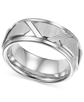 Triton Mens White Tungsten Ring Bright Cuts Wedding Band Rings