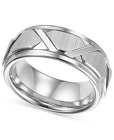 Triton Men's White Tungsten Ring, Bright Cuts Wedding Band