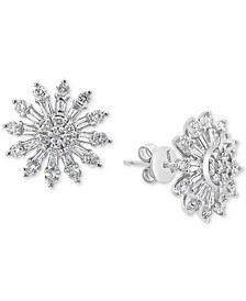 EFFY® Diamond Sunburst Stud Earrings (1-1/3 ct. t.w.) in 14k White Gold