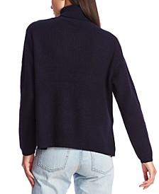 Waffle-Knit Button-Detail Turtleneck Sweater