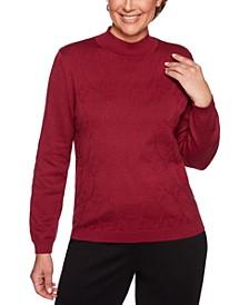 Petite Classics Textured Mock-Neck Sweater