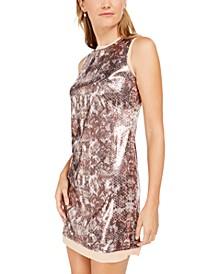Sequined Snake-Embossed Shift Dress