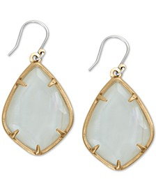 Gold-Tone White Mother-of-Pearl Stone Drop Earrings