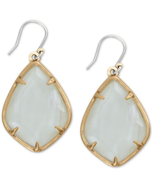 Lucky Brand Gold-Tone White Mother-of-Pearl Stone Drop Earrings