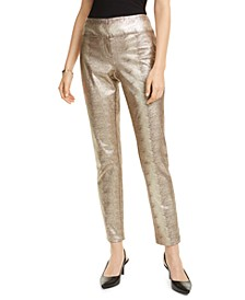 Tummy-Control Metallic Python-Print Trousers, Created For Macy's