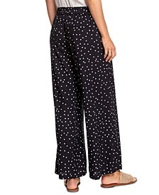 Juniors' Belted Dot-Print Pants