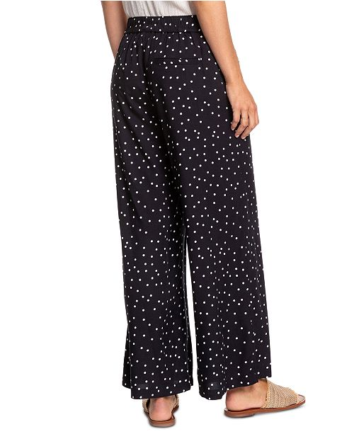 Roxy Juniors' Belted Dot-Print Pants
