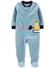 Baby Boys Construction Bear Fleece Footed Pajamas