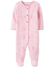 Baby Girls Cotton Elephant-Print Footed Coverall
