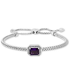 EFFY® Amethyst (2 ct. t.w.) & Diamond (1/10 ct. t.w.) Bolo Bracelet in Sterling Silver