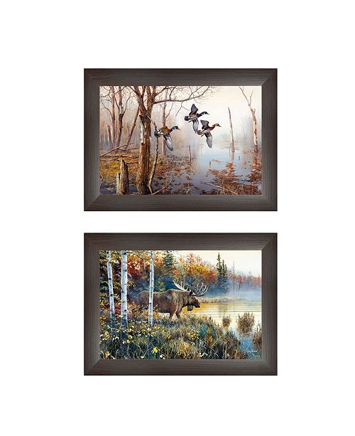 "Trendy Decor 4U Trendy Decor 4U Backwater Mist Collection By Jim Hansen, Printed Wall Art, Ready to hang, Brown Frame, 21"" x 15"""