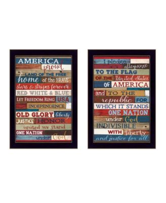 """America Proud II Collection By Marla Rae, Printed Wall Art, Ready to hang, Black Frame, 10"""" x 14"""""""