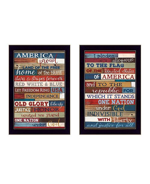 "Trendy Decor 4U Trendy Decor 4U America Proud II Collection By Marla Rae, Printed Wall Art, Ready to hang, Black Frame, 10"" x 14"""