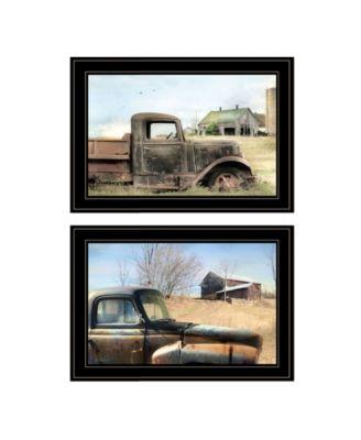 "Vintage-Like Farm Trucks 2-Piece Vignette by Lori Deiter, Black Frame, 21"" x 15"""