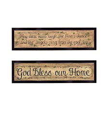 """Blessed Home 2-Piece Vignette by Gail Eads, Black Frame, 20"""" x 6"""""""