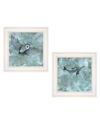 """Wildlife 2-Piece Vignette by Britt Hallowell, White Frame, 15"""" x 15"""""""