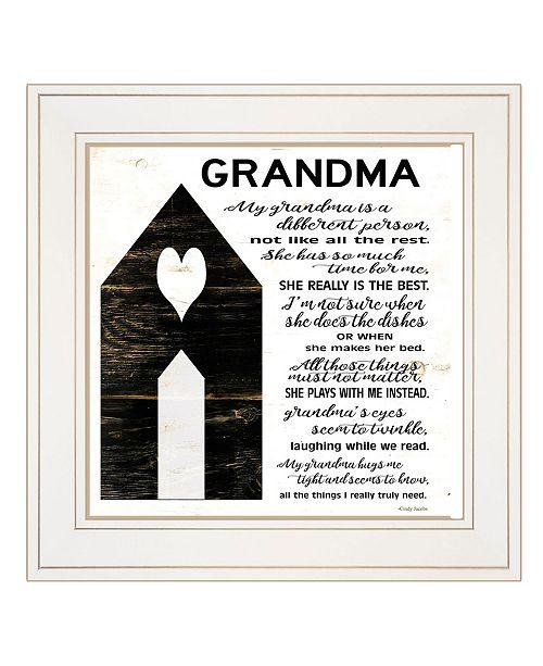 "Trendy Decor 4U Trendy Decor 4U My Grandma by Cindy Jacobs, Ready to hang Framed Print, White Frame, 15"" x 15"""