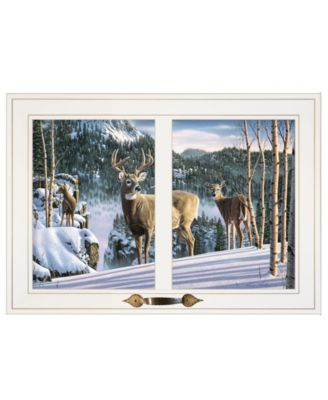 """Morning View Deer by Kim Norlien, Ready to hang Framed Print, White Window-Style Frame, 21"""" x 15"""""""