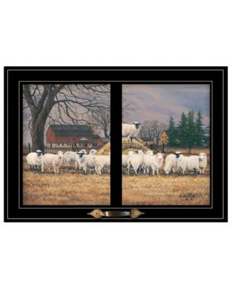"""Wool Gathering by Bonnie Mohr, Ready to hang Framed Print, Black Window-Style Frame, 21"""" x 15"""""""
