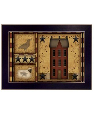 """Primitive Shadowbox By Carrie Knoff, Printed Wall Art, Ready to hang, Black Frame, 14"""" x 10"""""""