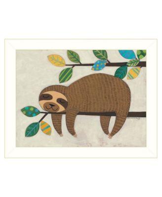 Hanging Sloth II by Bernadette Deming, Ready to hang Framed Print, White Frame, 18