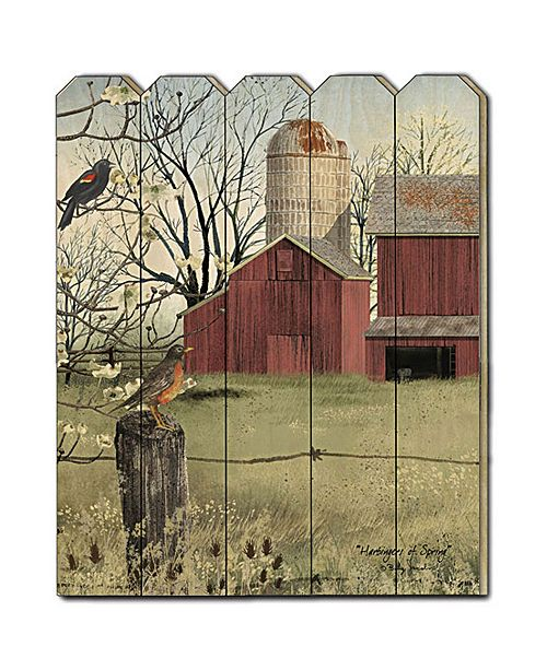 "Trendy Decor 4U Trendy Decor 4U Harbingers of Spring by Billy Jacobs, Printed Wall Art on a Wood Picket Fence, 16"" x 20"""
