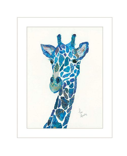 "Trendy Decor 4U Trendy Decor 4U Blue Giraffe by Lisa Morales, Ready to hang Framed Print, White Frame, 15"" x 19"""